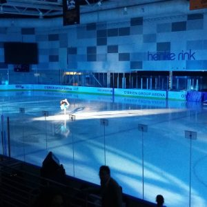 Skating on the blue rink Docklands